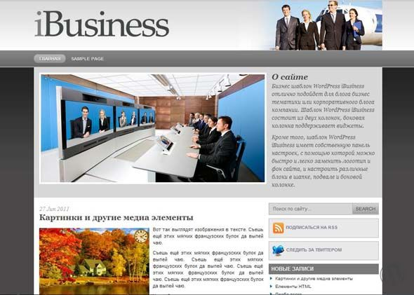 Бизнес тема для WordPress iBusiness